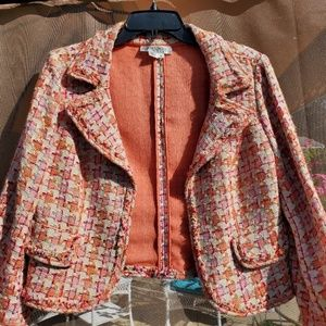 Kay Unger blazer pink coral houndstooth silk lined